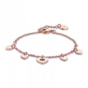 Luca Barra - Bracciale in acciaio rosè con cuori e pietre rosa