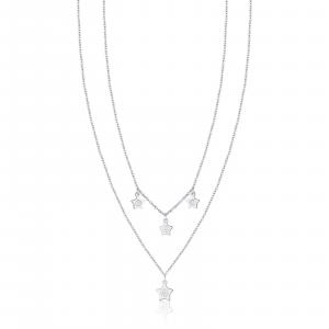 Luca Barra - Collana in acciaio con stelle e cristalli bianchi