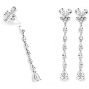 Comete farfalle orecchini donna pendenti in argento con cristalli bianchi ORA126