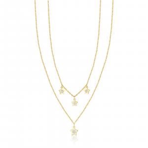 Luca Barra - Collana in acciaio dorato con stelle e cristalli bianchi