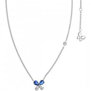 Comete farfalle collana in argento con cristalli bianchi e blu GLA158