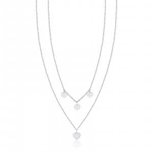 Luca Barra - Collana in acciaio con cuori e cristalli bianchi