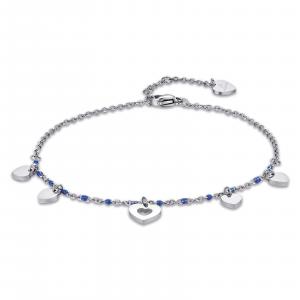 Luca Barra - Cavigliera in acciaio con cuori e pietre blu