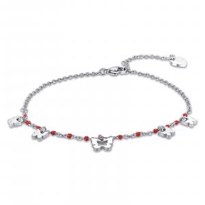 Luca Barra - Cavigliera in acciaio con farfalle e pietre rosse
