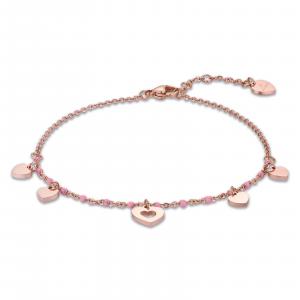 Luca Barra - Cavigliera in acciaio rosé con cuori e pietre rosa