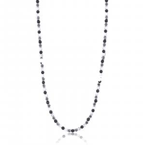 Luca Barra - Collana in acciaio con pietre bianche e nere
