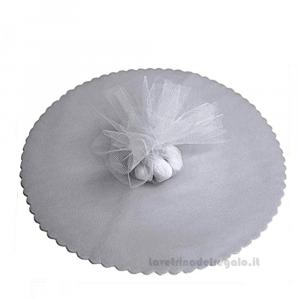 100 pz - Velo portaconfetti Argento smerlato rotondo in organza 23 cm - Veli nozze d'argento