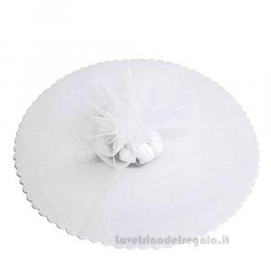 100 pz - Velo portaconfetti Bianco smerlato rotondo in organza 23 cm - Veli bomboniere