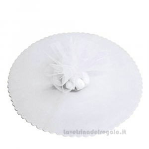 50 pz - Velo portaconfetti Bianco tondo smerlato 24 cm - Veli bomboniere