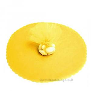100 pz - Velo portaconfetti Giallo smerlato rotondo in organza 23 cm - Veli bomboniere