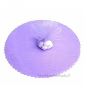 100 pz - Velo portaconfetti Lilla smerlato rotondo in organza 23 cm - Veli matrimonio