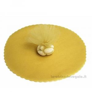 100 pz - Velo portaconfetti Oro rotondo in organza smerlato 23 cm - Veli nozze d'oro