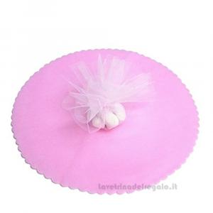 100 pz - Velo portaconfetti Rosa smerlato rotondo in organza 23 cm - Veli battesimo bimba