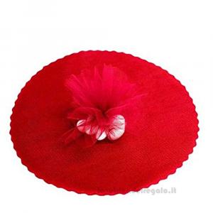 100 pz - Velo portaconfetti Rosso smerlato rotondo in organza 23 cm - Veli laurea