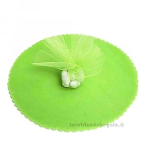 100 pz - Velo portaconfetti Verde Mela smerlato rotondo in organza 23 cm - Veli 18 anni
