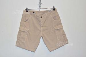 Bermuda Uomo Liu-jo Jeans Tg 56 Slim Fit, Beige Con Tasconi