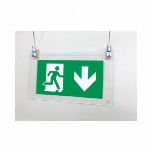 Cartello in plexiglass serie Avantgarde Uscita di emergenza a soffitto