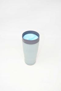 Cup Thermos Tupperware Grey Cap Blue 350 Ml