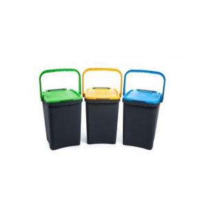 Pattumiera Ecoplus Capacità 50 Litri Con Coperchio Colorato in Vari Colori Assortiti Indifferenziata Casa in Plastica