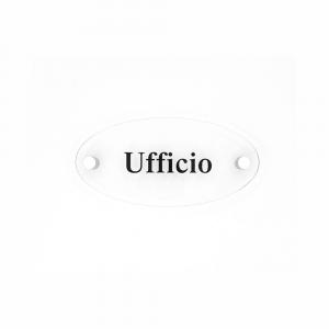 Cartello in plexiglass Plexline ellisse con scritta Ufficio
