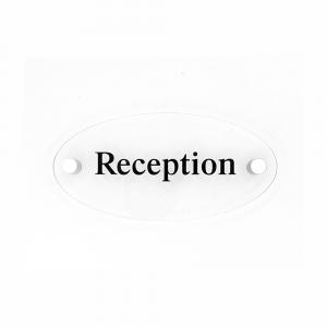Cartello in plexiglass Plexline ellisse con scritta Reception