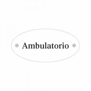 Cartello in plexiglass Plexline ellisse con scritta Ambulatorio