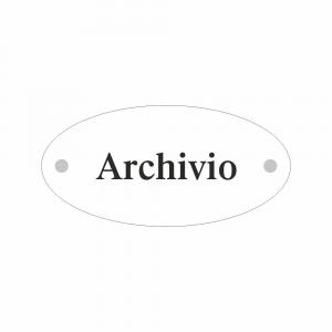 Cartello in plexiglass Plexline ellisse con scritta Archivio
