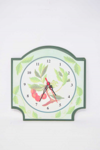 Wall Clock Fantasy Leaves Green 26x27 Cm