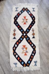 Carpet Hand Made Tunisin White Black 70 Cm