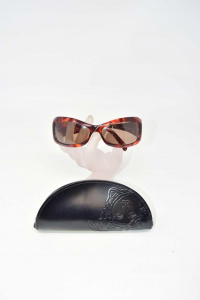 Occhiali Da Sole Donna Versace Mod 4068 371/3 6516 125 Marroni Tartarugati Con Custodia