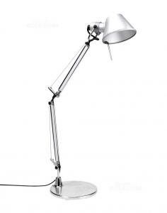 Lampada Da Tavolo Artemide Modello Tolomeo Con Morsetto + Base Tonda Acciaio Nuova