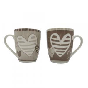 Brandani set 2 tazze mug batticuore porcellana