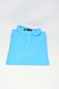 Polo Uomo Liu-jo Uomo Slim Fit Tg M Azzurro Fantasia Margherite