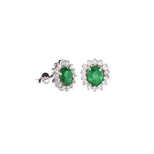 Orecchini Domenico Bertero con Smeraldo e Diamanti