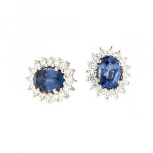 Orecchini Domenico Bertero con Zaffiro Blu e Diamanti
