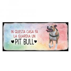 Placca in metallo cane Pitbull