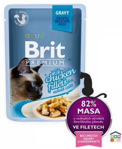 Brit Premium Cat Pouch con Filetti di Pollo in Salsa per Gatti Adulti