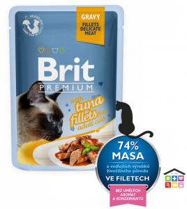 Brit Premium Cat Pouch con Filetti di Tonno in Salsa per Gatti Adulti