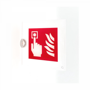 Cartello in plexiglass serie Avantgarde Pulsante allarme antincendio