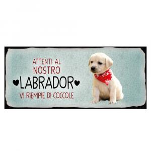 Placca in metallo cane Labrador bianco