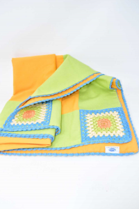 Tablecloth Green Orange In Wool 70x135 Cm Hand Made
