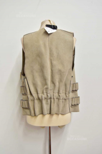 Gilet Man In Leather Beige Per Hunters With Pockets Holder Bossoli