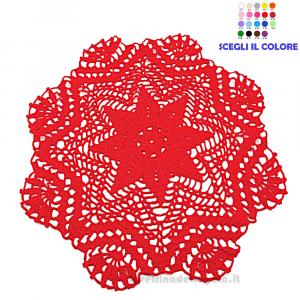 Centrino rotondo rosso ad uncinetto ø 35 cm Handmade - Italy