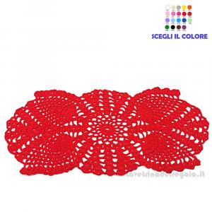 Piccolo centrino rosso ad uncinetto 31 x 14 cm Handmade - Italy