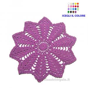Centrino Violetto ad uncinetto 22 cm - Handmade in Italy