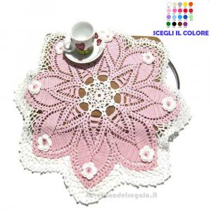 Centrino rosa e bianco ad uncinetto ø 45 cm Handmade - Italy
