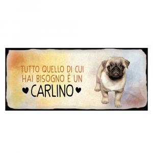 Placca in metallo cane Carlino