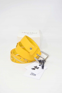 Belt Woman In Faux Leather Mimi Mua Florence Yellow Mustard New