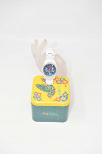 Watch Woman Fossil White Dial Blue With Jewels (battery To Be Changed)