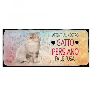 Placca in metallo gatto persiano